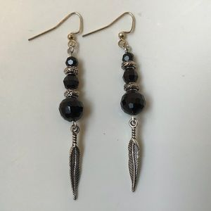 Handcrafted black and silver earrings $10